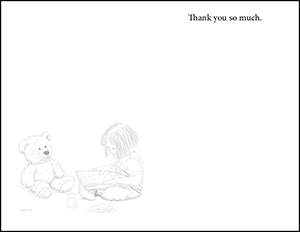 Image of the inside of a thank-you card.