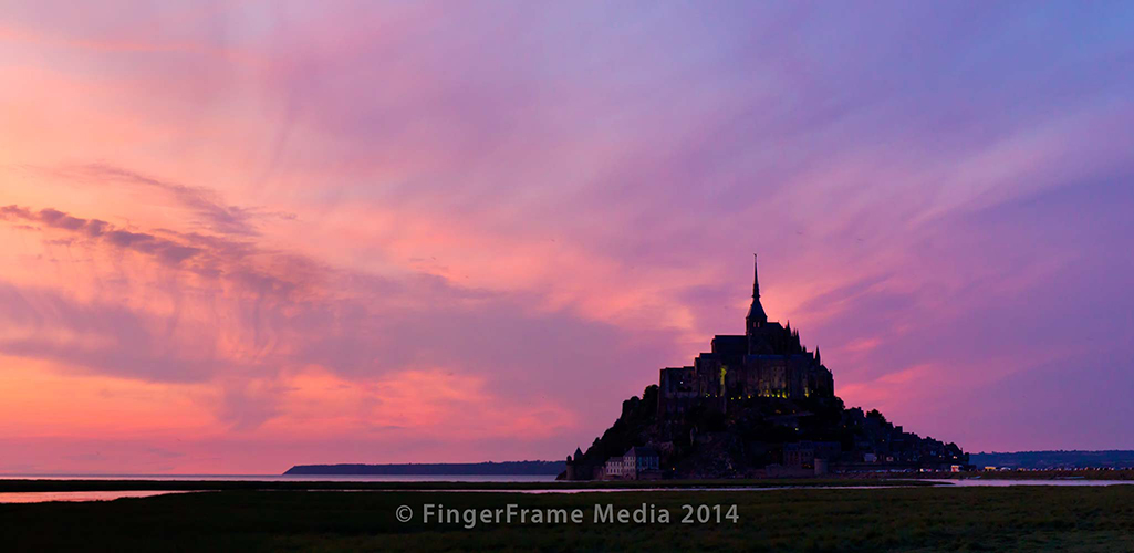 Image of Mont Saint Michel in France at sunset